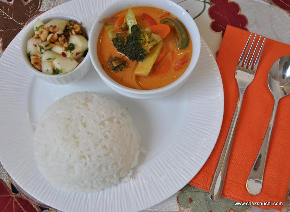 thai red curry with rice and salad