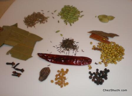 spices for Bombay biryani