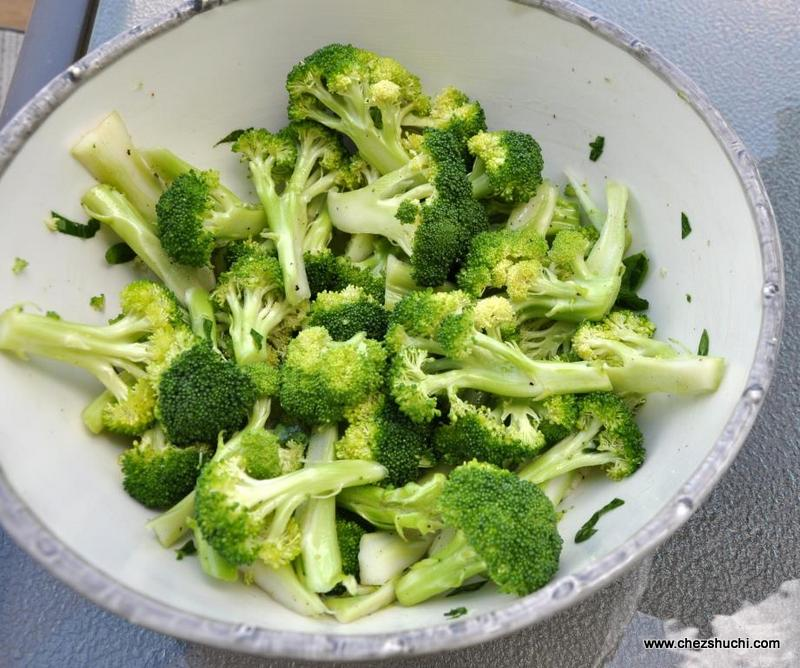broccoli florets voated in olive oil