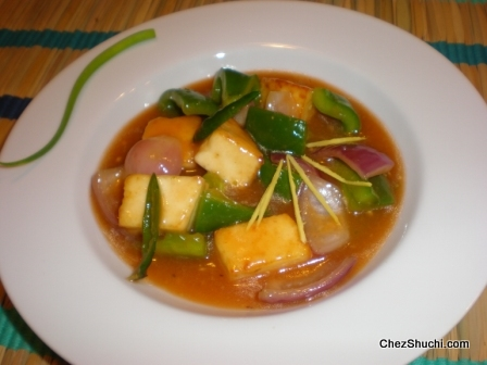 Chili Paneer in Ginger Sauce