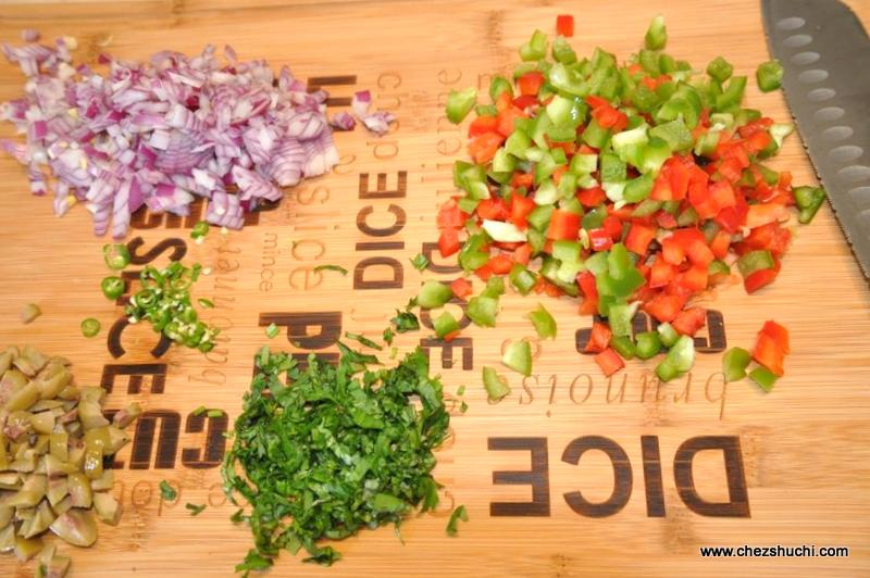 chopped veggies for quesadilla