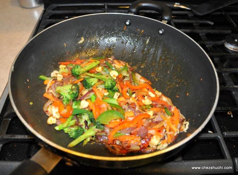veggies frying for chow mein
