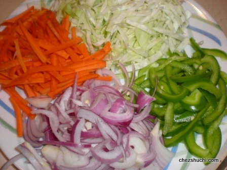 Veggies for chowmein