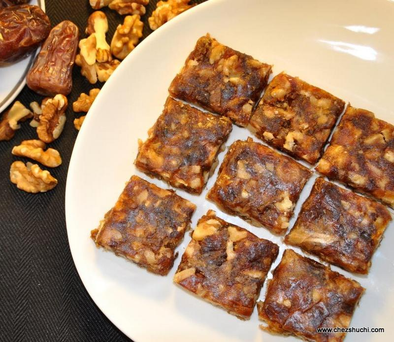 Dates and walnut burfi
