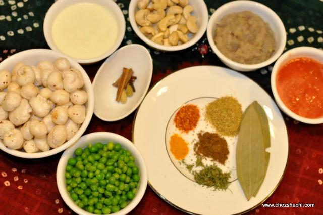 ingredients for kaju curry
