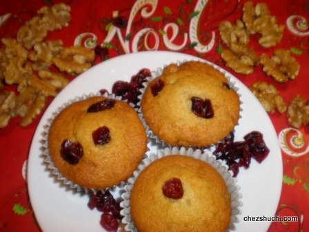 Cranberries Walnut Muffins