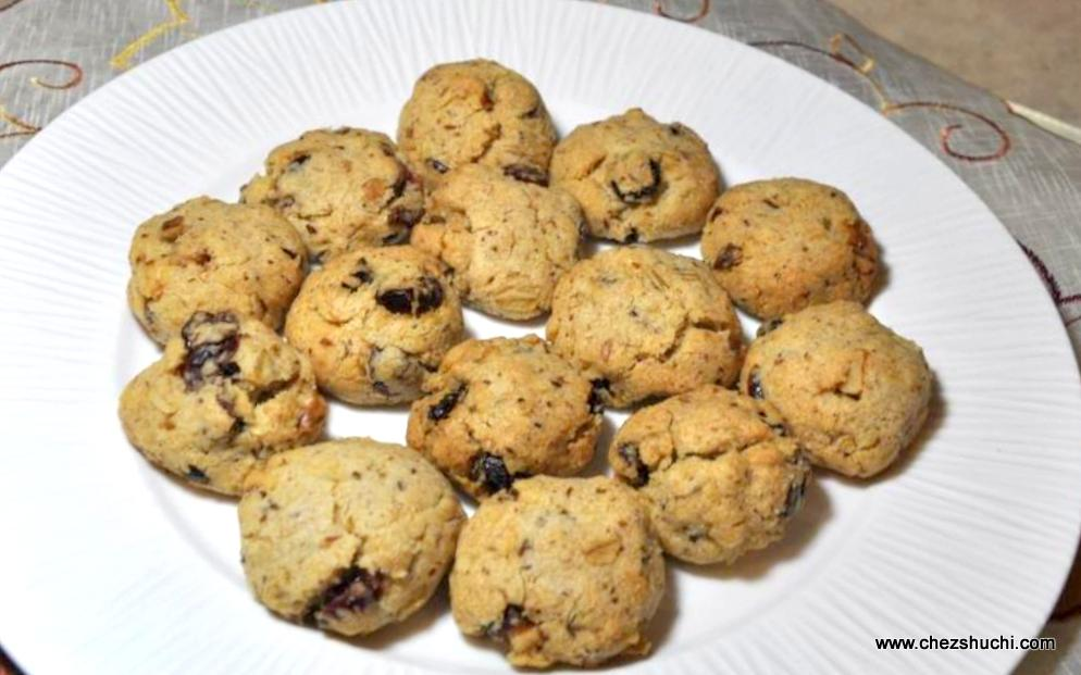 Oat Flax Cranberries and walnut Cookies