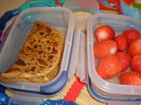 paneer paratha for lunch boxes