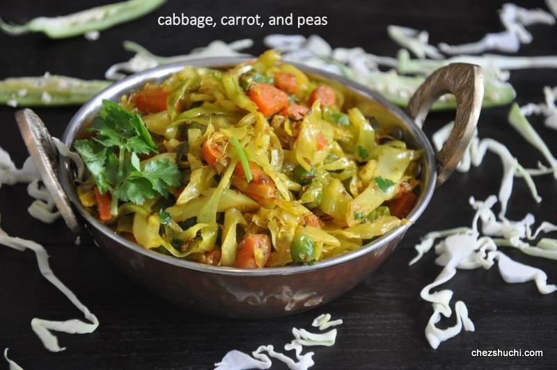 Cabbage carrot and peas