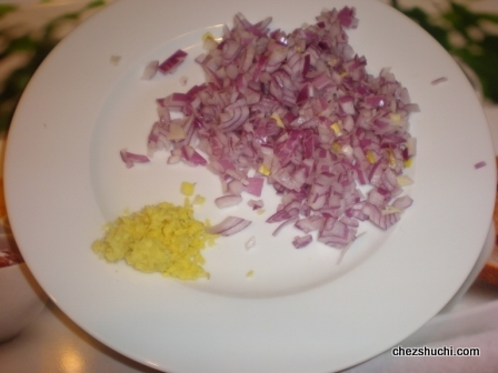 chopped onion and ginger