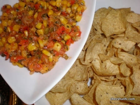 corn salsa with scoop tortillas