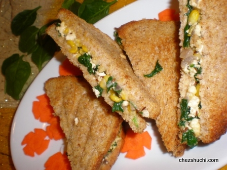 Grilled Spinach corn Sandwich