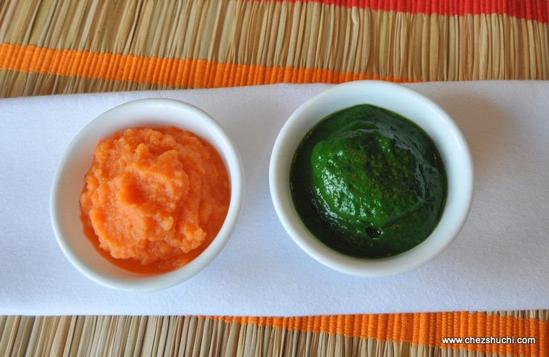 carrot and spinach puree