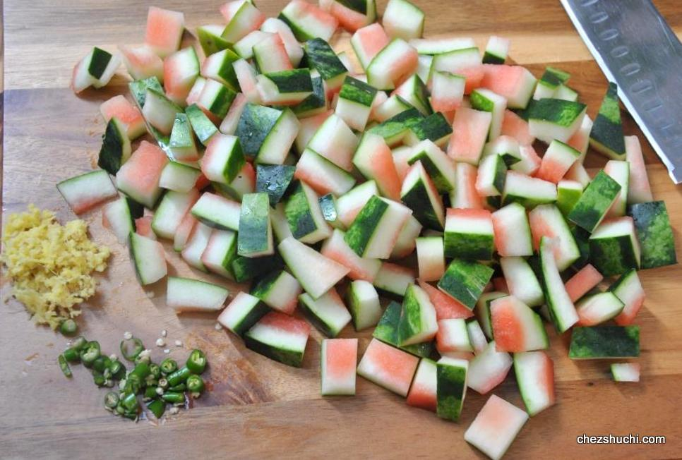 watermelon rind cut into pieces